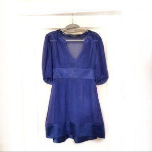 Marciano Silk and Chiffon Long Sleeve Dress